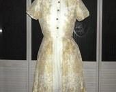 Vintage 50s Rockabilly Toile Madmen Garden Party Dress