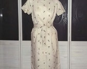 Vintage 50s Madman Embroidered Secretary Day Wiggle Dress