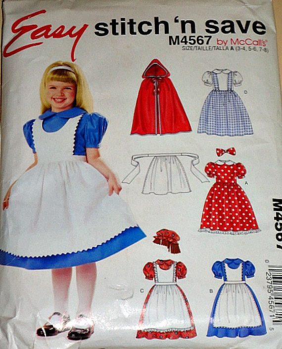 McCall's M4567 Sewing Pattern, Children's And Girls' Storybook Costumes, Sizes 3 - 4, 5 - 6, and 7 - 8, Factory Folded