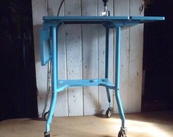Vintage Industrial Printer Cart with Light