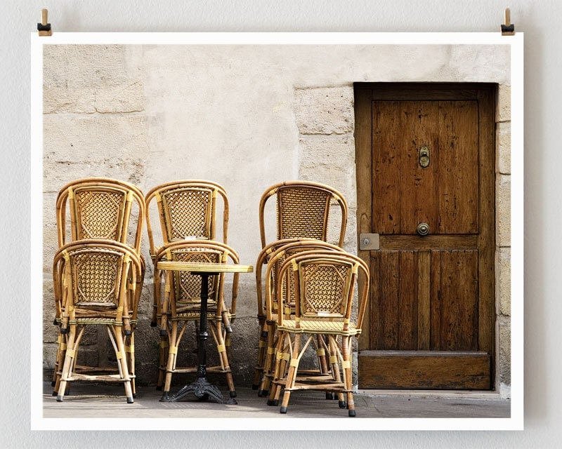 """Paris Photography, """"Brown Stacked Chairs"""" Paris Print, Large Art Print Fine Art Photography"""