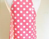 Girls Apron with Pink Polka Dots AGE 9-12  / Laminated apron / vinyl smock / Craft apron / Children apron