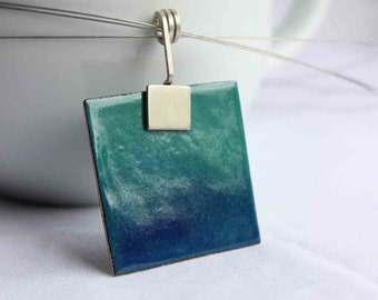 """Enamelled square Necklace, Turquoise and Blue Enamels, Sterling silver and copper, """"Deep sea"""" Pendant"""