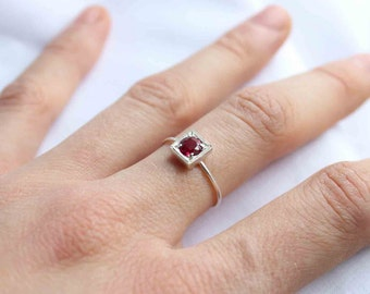 July Birthstone Ruby ring , Little Stacking ring,  Round Stone Shape, Sterling silver, Custom Ring, Magenta stone, Personalized birthstone