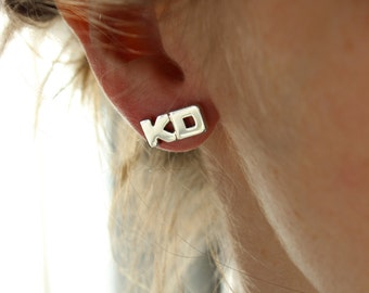 ONE Word earring, Earring with Two or Three Letters made to Sterling silver, Stud earring, Personalized,  Made to order, Custom Earring