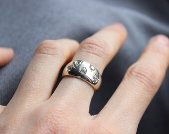 Sparks ring, White stone, Sterling silver  and Cubic zirconia, Fine Jewelry, Cabochon Ring, Made to order in your size