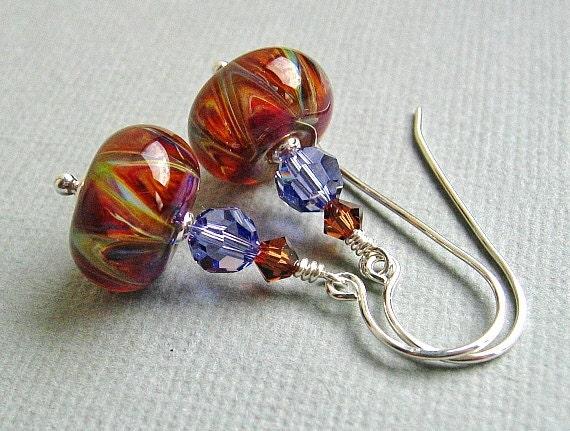 RESERVED - Amber Boro Lampwork Glass Bead Earrings, Brown Beaded Earrings, Tanzanite Purple,Sterling Silver - FOREVER AMBER