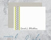 Custom Stationery Set - Braided Stripe -  Flat Note Card Set  - Set of 15