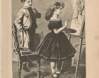 1880 Wood Engraving - Finishing Touch - Antique Children's Illustration - Book Plate, Print - Lithograph - Tommy Tip Toe - R Worthington