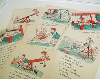 School Book Illustrations, Pages - Backyard Playground - Vintage Children's School Book Plates, Prints - Primary Reader - 7 Pcs - 1940