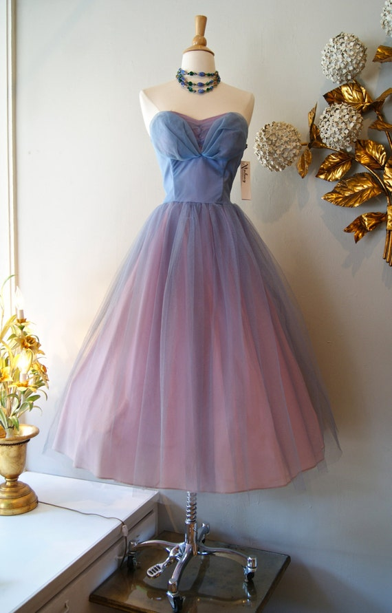 Vintage 50 S Tulle Dress 1950 S Strapless Prom