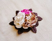 Malt, Espresso, Lipstick Pink roses Mixed bunch Vintage style Millinery Flower spray Bouquet- corsage, floral shabby chic 32114 OOAK