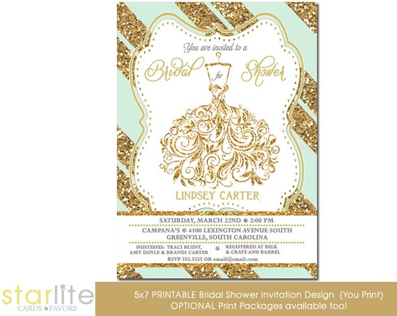 Wedding Gown Bridal shower invitation, Mint Gold Glitter Stripes, Unique Shower invitation vintage style Printable Design or Printed Option.