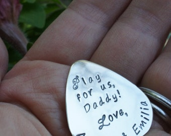 Music Gifts - Personalized Guitar Pick - Custom Hand Stamped, Engraved Sterling Silver Plectrum by Eclectic Wendy Designs