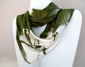 jersey infinity scarf, olive green hand dyed shibori in bamboo organic cotton