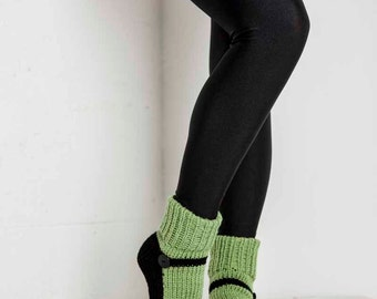 Ready to Ship Size S Knit Slipper Sock Adult Mary Jane Slippers Green House Slippers Womens Slippers Home Slippers Black House Shoes