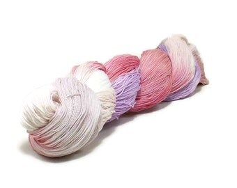 150 Yards Hand Dyed Cotton Crochet Thread Size 10 3 Ply Specialty Thread White Pale Pink Rose Lavender Christmas Thread Fine Cotton Yarn