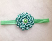 Green Chevron Flower Headband on Polka Dot Elastic with Sparkly Rhinestone, St. Patrick's Day, Girls, Baby Hair Accessories