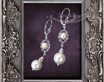 Ivory Pearl Rhinestone Wedding Earrings, Swarovski Bridal Earrings