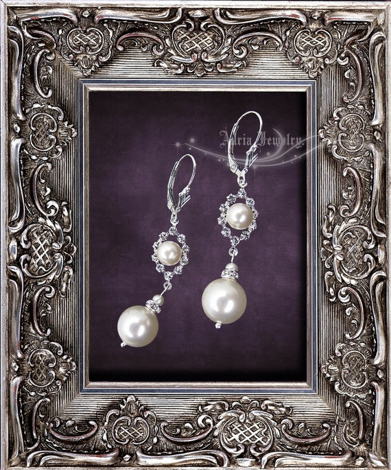 Ivory Pearl Rhinestone Wedding Earrings, Swarovski Bridal Earrings