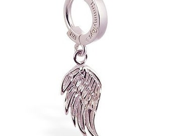 Sterling Silver Femme Metale's Angel Wing Charm Navel Ring By TummyToys (68104)