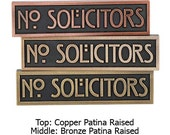 No Solicitor Stickley Craftsman Mini Plaque 8x2 inches you pick the phrase and finish