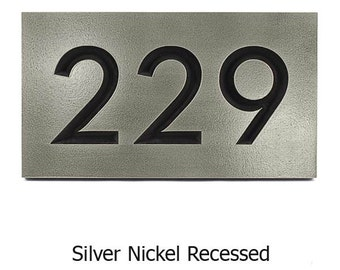 3 NUMBERs Modern Neutraface Address Plaque 12.5 x 7 inches for 3 House Numbers