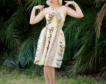 Tropical Alfred Shaheen reproduction LIMITED EDITION 1940s vintage style halter sundress NEW Large