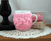 Petal Pink Hand Knit Coffee Mug Cozy Cable