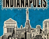 Print Indianapolis Poster  Birthday Gift art print Cityscape city skyline print  Indianapolis map canvas Wall Decor typography print