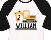 construction birthday boy shirt - excavator - personalized raglan style birthday shirt