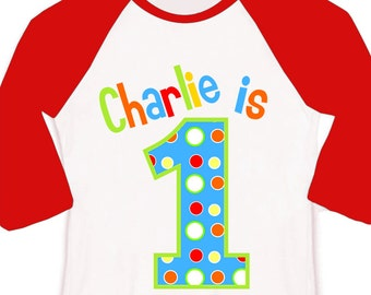 First 1st birthday bright primary colors theme birthday party RAGLAN sleeve shirt