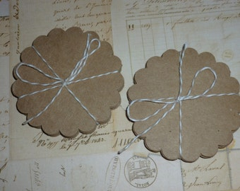 Kraft Paper scallop rounds 3 inches set of 50 scrapbooking papercrafting tag making supplies craft supplies DIY tags place cards wedding
