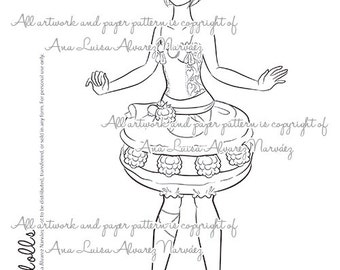 Digital Stamp - coloring page Sweet dolls - Macaron girl