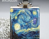 Doctor Who Tardis Necklace Blue Police Box Starry Night Jewelry Van Gogh Scrabble Tile Pendant