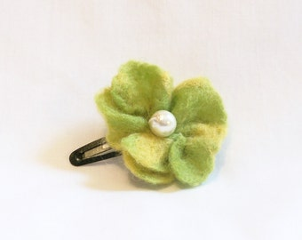 Hair Barrette - needle felted flower Chartreuse Green and Yellow with  Pearl