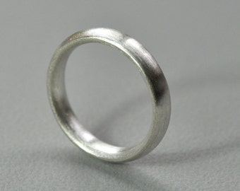 Comfort Fit Wedding Ring. Sterling Silver. 4mm. Matte Finish. Brushed. Eco. Handmade in Australia.