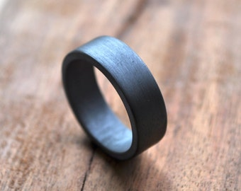 Chunky Men's Wedding Ring. Sterling Silver. Oxidised/Oxidized. 7mm. Grey. Gray. Black. Handmade in your Size. Custom. Eco.