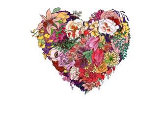 Heart, flowers. 8x10 print