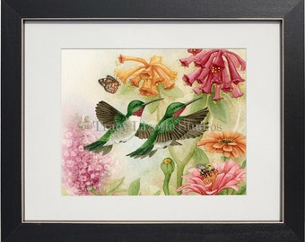 Hummingbird Garden No III - archival watercolor print by Tracy Lizotte