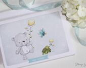"greeting card - card - bear - butterfly - turtle - flower - birthday - thank you - thinking of you - friends - garden - ""FLOWER PARADE! """