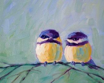 Chickadees - Chickadee Art - Bird Art - Giclee Print