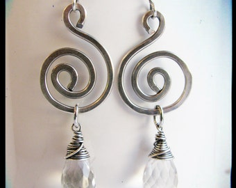 Micro Faceted Prasiolite and Hammered Silver Swirls Earrings