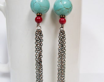 Turquoise Magnesite, Red Coral and Long Antique Copper Chain Tassel Earrings- Shoulder Dusters
