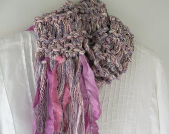 Hand knit scarf, women's soft pink multicolor long winter chunky fashion, cotton silk pink white lavender purple ladies i993