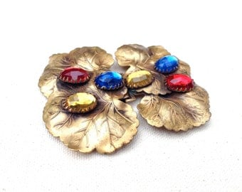 Bohemian Glass Cabochon Belt Buckle // Gilt Leaves // 1950s