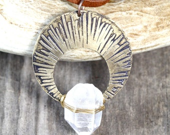 Raw Crystal Necklace Crystal Nimbus Necklace Spiritual Jewelry