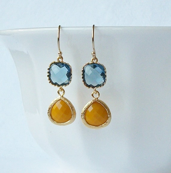 LAST ONE Navy Blue and Yellow Crystal Drop Earrings