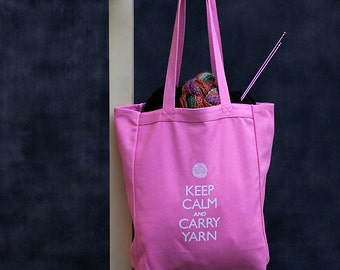Canvas Knitting/Crochet Tote - Keep Calm and Carry Yarn - Pink