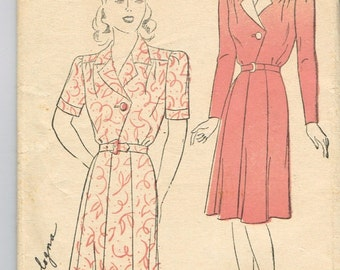 Original 1930's New York Pattern Company No. 606 Front Closure Dress with Convertible Collar Size 20 Bust 38 BY LOUISE SCOTT